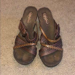 Skechers Brown Wedge Sandals